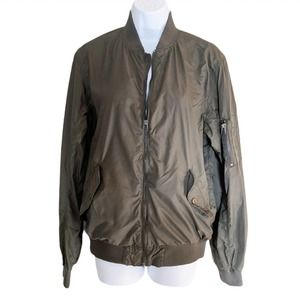 HM LOGG olive army green zip bomber jacket
